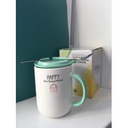 Чашка с крышкой и ложкой «Happy» 400мл
